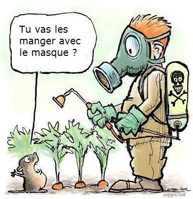 """Illustration montrant un homme en train de vaporiser du pesticides sur des carottes avec un masque de protection, et une taupe lui disant """"tu vas les manger avec le masque ?"""""""