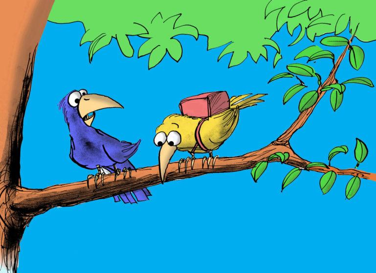 Dessin de 2 oiseaux sur une branche, l'un hésitant à s'envoler