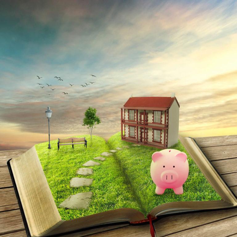 livre ouvert avec en double page une maison et un cochon en 3D sur un fond de coucher de soleil